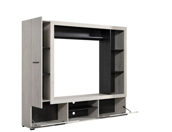 Luca Entertaiment Unit Wall TV Cabinet in White Oak and Black